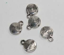 Rond metalenkraal met oogje 1 x 1,4 cm