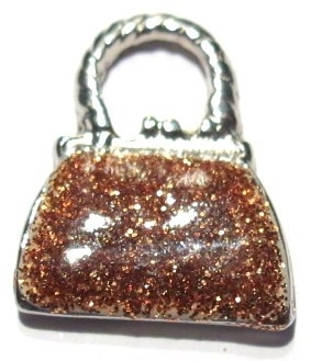 Tasje emaille met glitters bruin (06B000211)