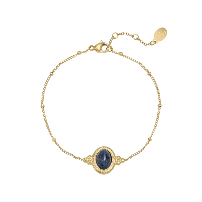 Gold plated armband met natursteen