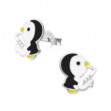 Sterling zilveren oorknopjes pinguïn met saxofoon