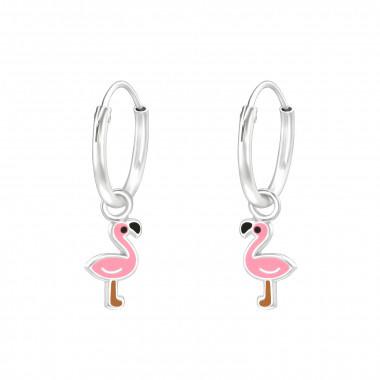 Sterling zilveren oorringen met flamingo's