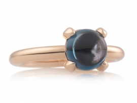 Catch ring met London Blue Topaas (8mm)