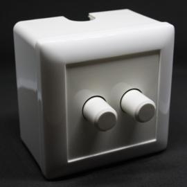 LED Pro dimmer- duo - universel - 0-100 watt - inclusief afdekplaat - opbouw- dubbele dimmer