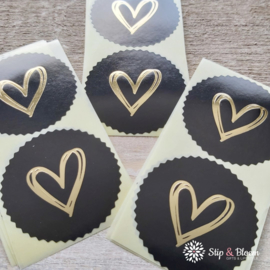 Sticker - rozet heart gold - zwart - per 20