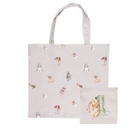 "Wrendale foldable shopping bag ""A Dog's Life"" - hond"