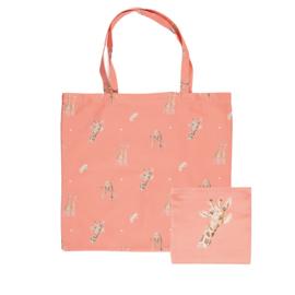 """Wrendale foldable shopping bag """"Flowers"""" - giraf"""