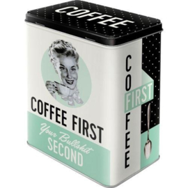 Storage tin large - Coffee First, Your Bullshit Second