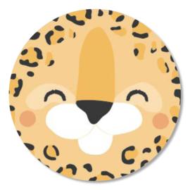Tante Kaartje sticker 50mm - Faces - Luipaard - per 10