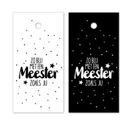 Cadeaulabel  - meester zwart/wit - per stuk