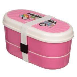 Bento box met bestek - Volkswagen T1 kampeerbus  roze