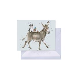 """Wrendale mini card """"Donkey Ride"""" - ezel"""