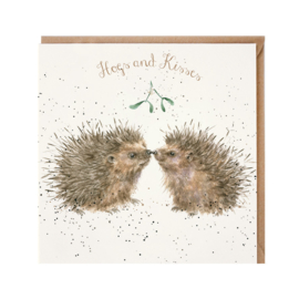 "Wrendale Christmas card - ""Hogs and Kisses"""