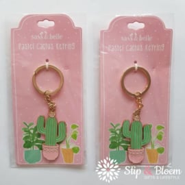 Emaille sleutelhanger pastel cactus
