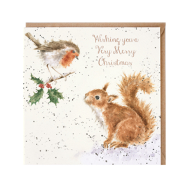 "Wrendale Christmas card - ""Robin and Squirrel"""