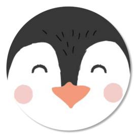 Tante Kaartje sticker 50mm - Faces - Pinguin - per 10