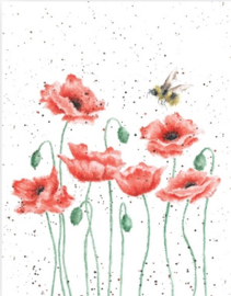"Wrendale mini card ""Poppies & Bee"" - hommel"