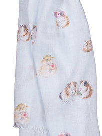 "Wrendale sjaal ""Guinea Pig"" - cavia"