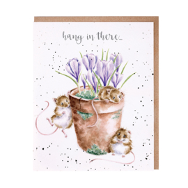 """Wrendale greeting card """"Hang in There"""" - muis"""