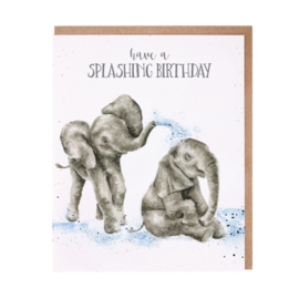 "Wrendale greeting card ""Splashing Birthday"" - olifant"