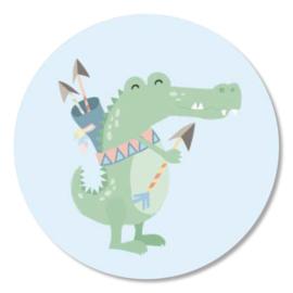 Tante Kaartje sticker 50mm - Boho Animals - Krokodil - per 10