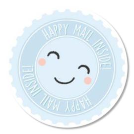 Tante Kaartje sticker 50mm - Happy mail inside - per 10