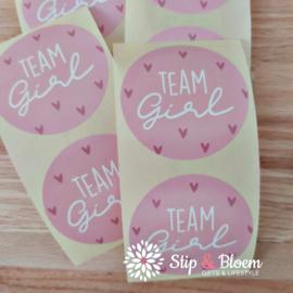 Sticker  40mm - team girl roze - per 20