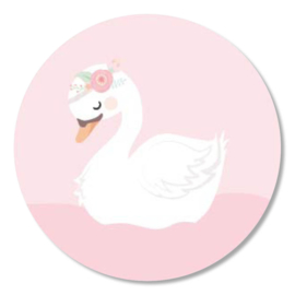 Tante Kaartje sticker 50mm - Boho Animals - Zwaan - per 10