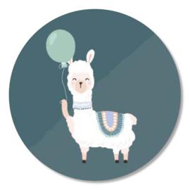 Tante Kaartje sticker 50mm - Party Animals - Lama - per 10