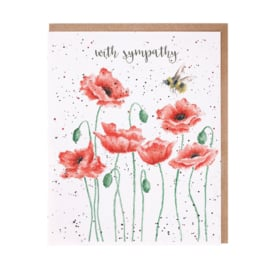 "Wrendale greeting card ""With Sympathy"" - bij"