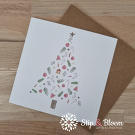 Appeloogje enkele kerstkaart - kerstboom licht