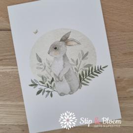 Appeloogje ansichtkaart - konijntje