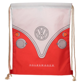 Drawstring rugzakje  - Volkswagen kampeerbus T1 - rood