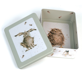 Wrendale Rectangular Tin - hare & owl