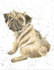 "Wrendale mini card ""Pug Love"" - mopshond"