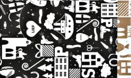 Sint zakje 12x19 Hop Hop zwart/wit - per 5