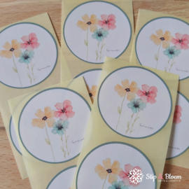 Sticker 45mm - bloemen - per 10