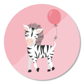 Tante Kaartje sticker 50mm - Party Animals - Zebra - per 10