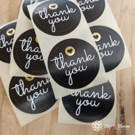 Sticker - 45mm thank you zwart/goud - per 20