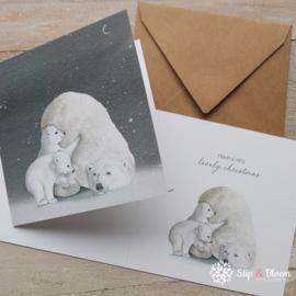Appeloogje dubbele kerstkaart - ijsberen