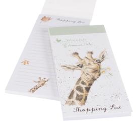 """Wrendale Magnetic Shopping Pad """"Flowers"""" - giraffe"""