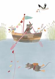A5 kaart met envelop - Fisher Mice