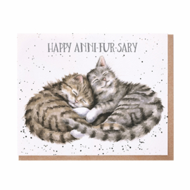 """Wrendale greeting card """"Happy Anni-Fur-Sary"""" - poes"""