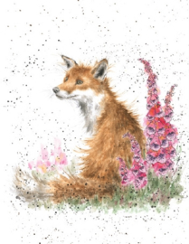 "Wrendale mini card ""Foxgloves"" - vosje"