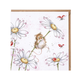 "Wrendale greeting card - ""Oops a Daisy"" - muis"