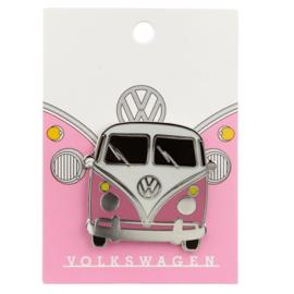 Emaille pin - Volkswagen kampeerbus roze