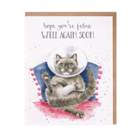 "Wrendale greeting card ""Feline Well Again Soon"" - kat"