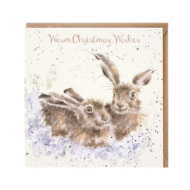 "Wrendale Christmas card - ""Warm Christmas Wishes"""