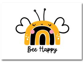 Ansichtkaart - Bee Happy regenboog