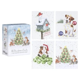 """Wrendale Boxed Mini Charity Christmas Cards  """"Christmas Party"""" - set van 16"""