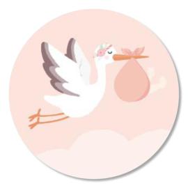 Tante Kaartje sticker 50mm - Ooievaar roze - per 10